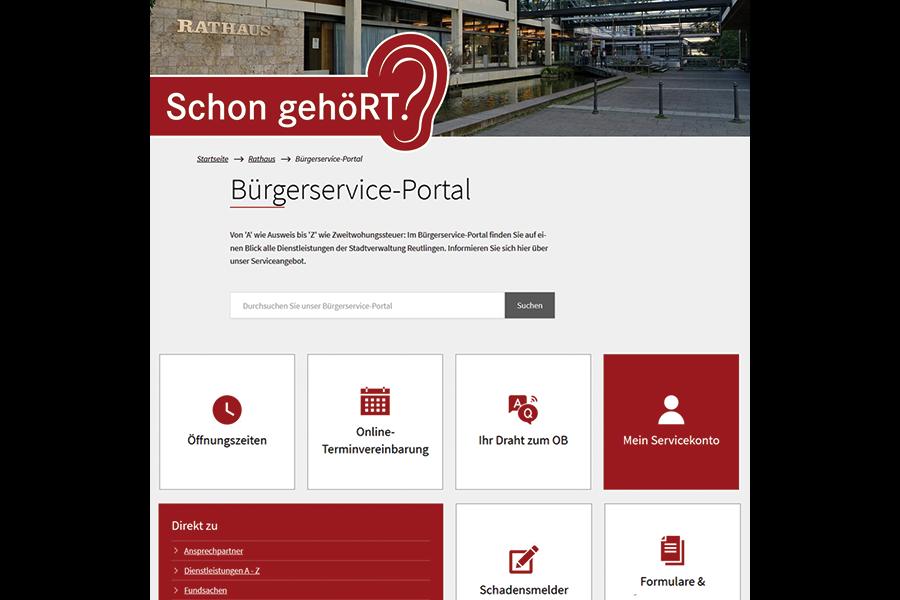 Schon gehöRT? Ausschnitt der Seite www.reutlingen.de/bürgerservice