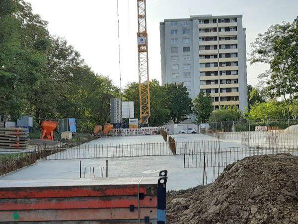Bauphase September 2019 - Fundament des Neubaus des Städtischen Kinderhauses Aachener Straße