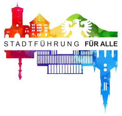 Zu sehen ist das Logo der Stadtführung für alle. Es zeigt wichtige Sehenswürdigkeiten von Reutlingen, die in verschiedenen Farben dargestellt sind. In der Mitte steht: Stadtführung für alle