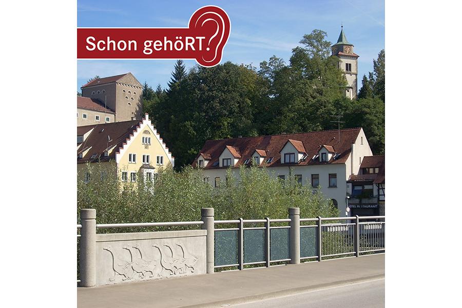 Blick von der Brücke über den Neckar in Richtung Kirche Mittelstadt
