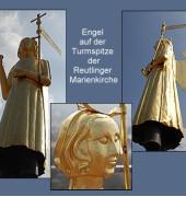 02 Gruß aus Reutlingen - Engel auf der Turmspitze der Marienkirche