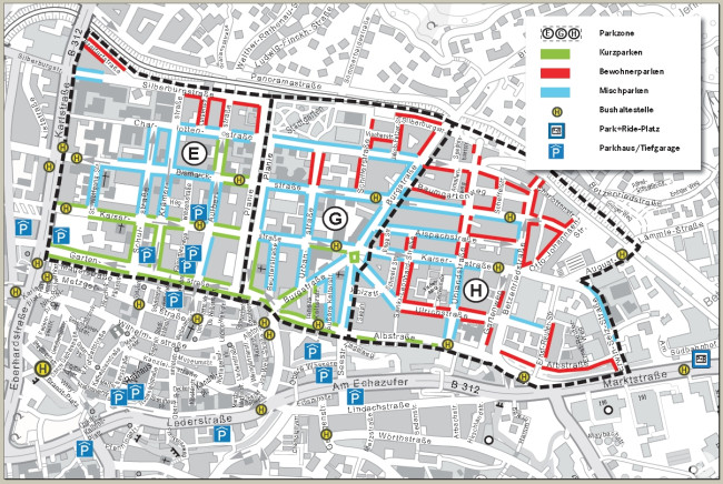 Die Parkzonen E, G und H in der Oststadt