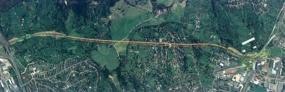 Luftaufnahme mit eingezeichnetem Verlauf des Scheibengipfeltunnels - Quelle: Regierungspräsidium Tübingen