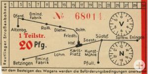 Für 20 Pfennig von Eningen bis zum Karlsplatz: Ein Fahrschein von 1954 zeigt das damalige Liniennetz