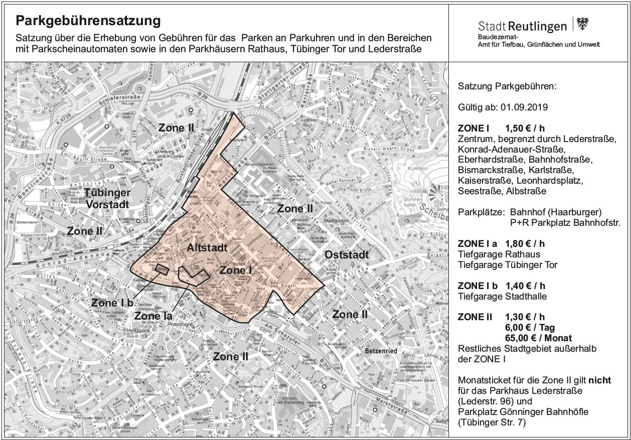 Parkzonen in Reutlingen (zum Vergrößern in das Bild klicken)
