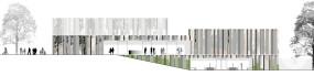 Das neue Theater von der Altstadt / Stadthalle aus gesehen