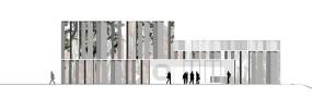 Der Haupteingang des neuen Theaters