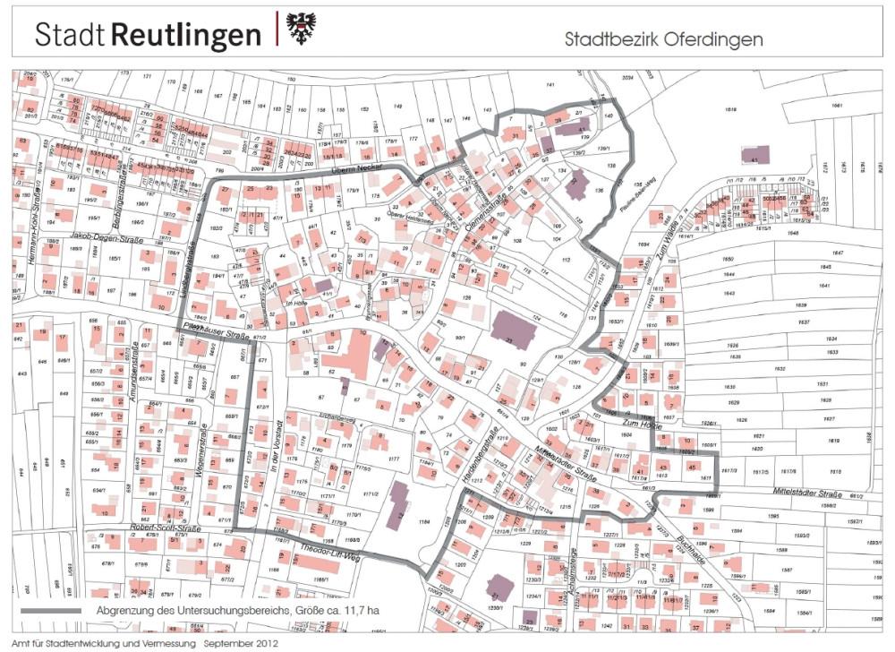 Plan vom Sanierungsgebiet in Oferdingen