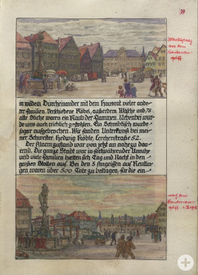 Marktplatz vor und nach dem Luftangriff vom 1. März 1945, Tuschezeichnung in der Familienchronik Weinhardt, Künstler Walter Ast