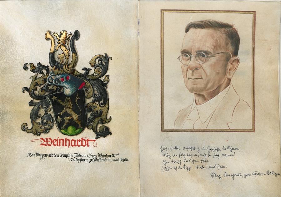 """Titelblatt der Familienchronik """"Sippe Weinhardt 1550–1948"""" mit dem Familienwappen und einem Porträt Dr. Max Weinhardts von Paul Beuttner"""