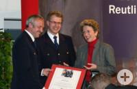 Helmut Kober, Harald Herrmann und Oberbürgermeisterin Barbara Bosch