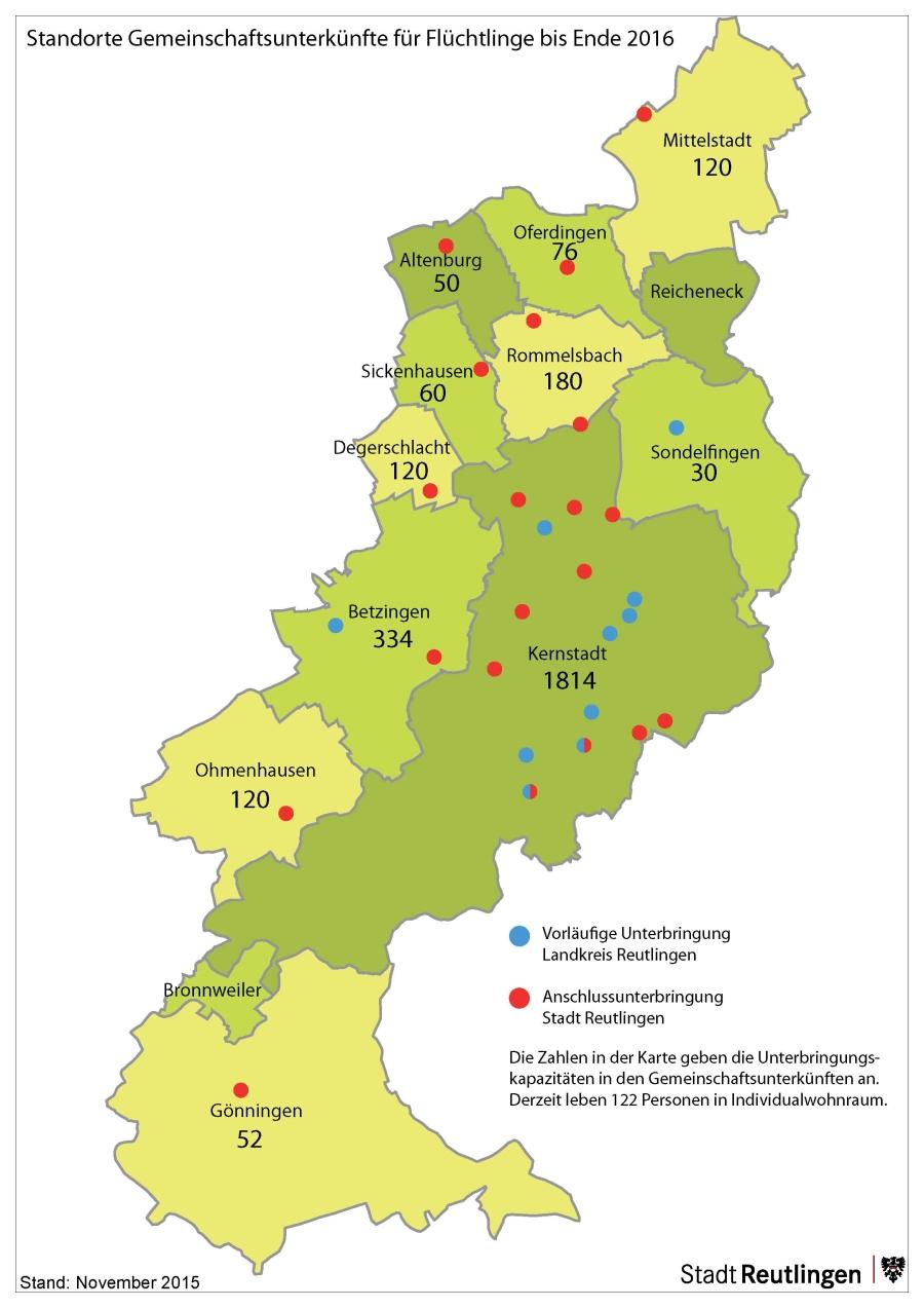 Standorte Gemeinschaftsunterkünfte für Flüchtlinge bis Ende 2016 - Stand November 2015