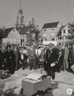 Grundsteinlegung am 27.06.1966 mit Oberbürgermeister Oskar Kalbfell