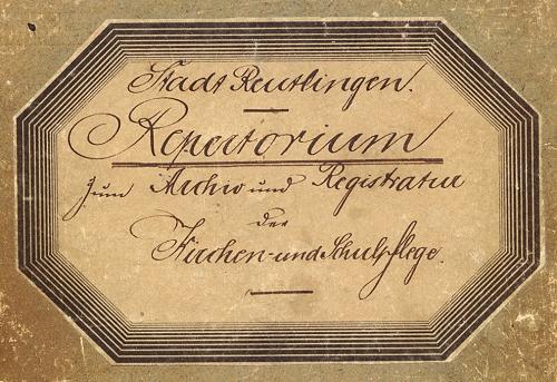 Repertorium - Archiv und Registratur der Kirchen- und Schulpflege (Titel) von 1893