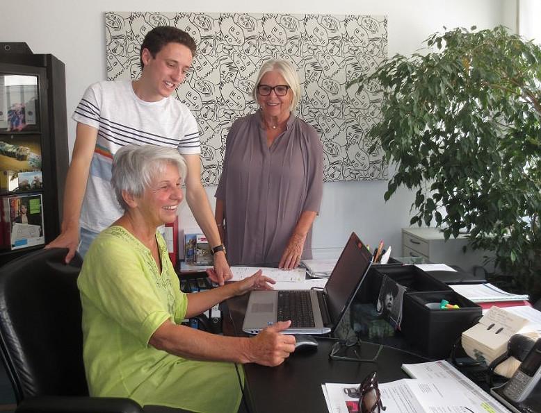 Florent zusammen mit Frau Zäh und Frau Janz von Kunst und Feinkost