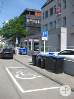 1 Behindertenparkplatz in der Mauerstraße/Metzgerstraße 15 hinten