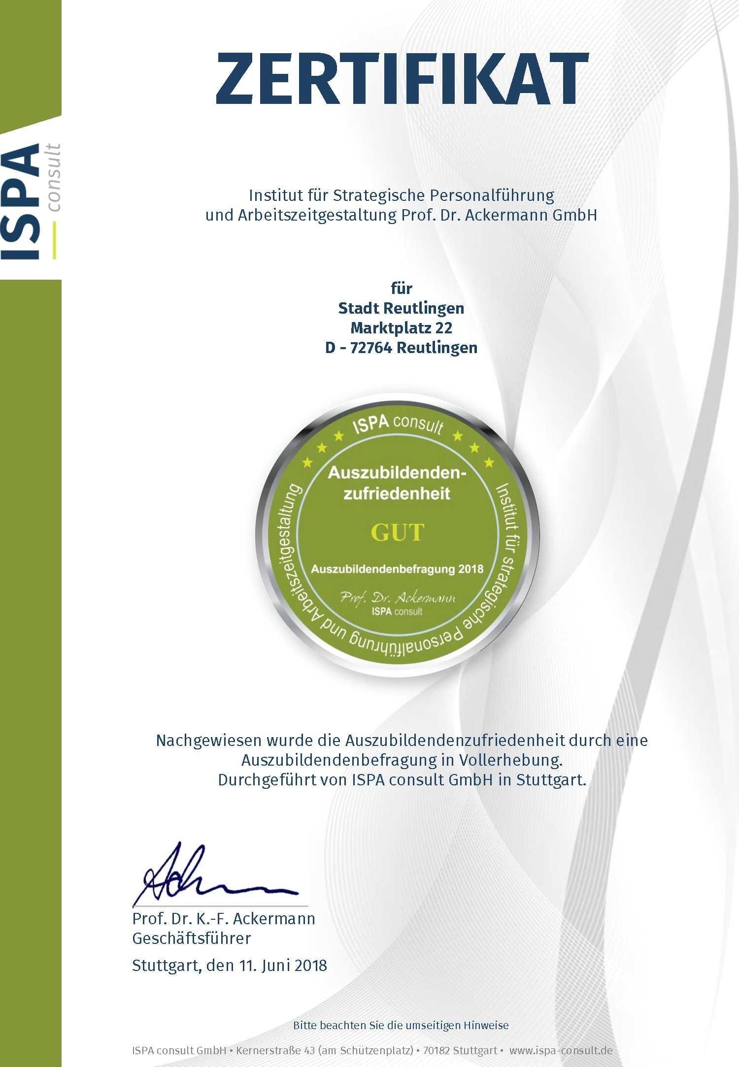 ISPA Zertifikat Auszubildendenzufriedenheit 2018