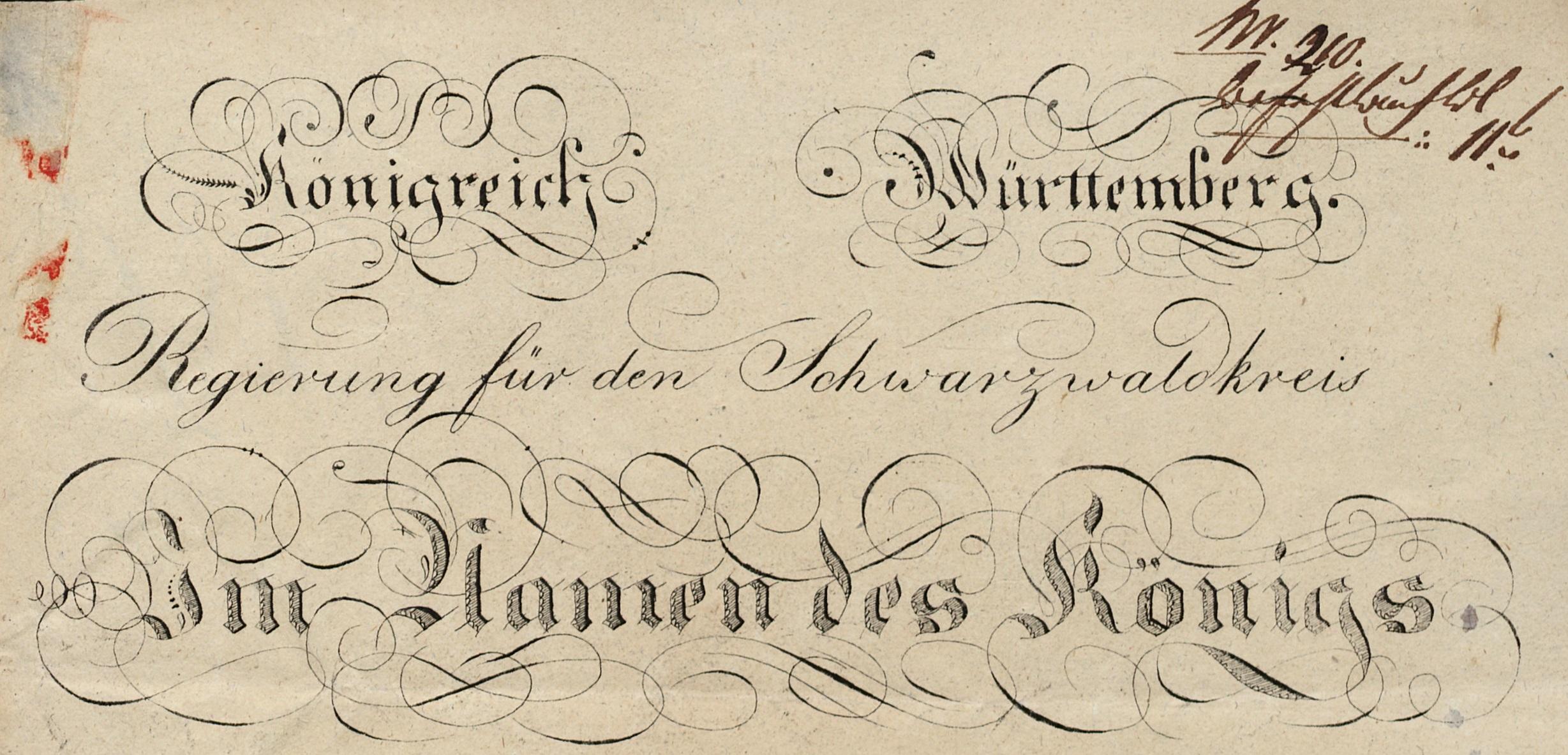 """Der 1818 zunächst verwendete """"Regierungs""""-Briefkopf beinhaltete noch die absolutistische Formel """"Im Namen des Königs"""", mit der die Erlasse (""""Befehle"""") an die Stadtverwaltung ergingen."""