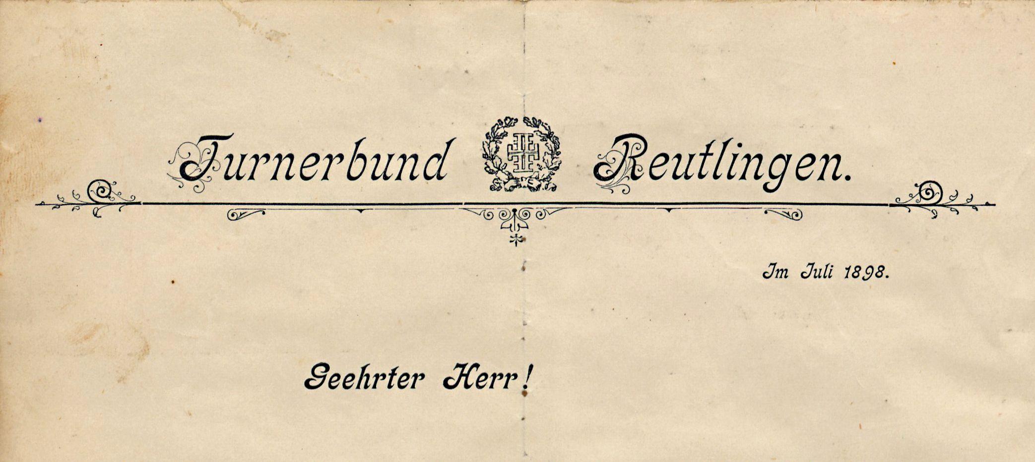 Briefkopf des Turnerbundes zur Einladung für Turnstunden in der 1898 neu errichteten städtischen Turnhalle auf der Rennwiese.