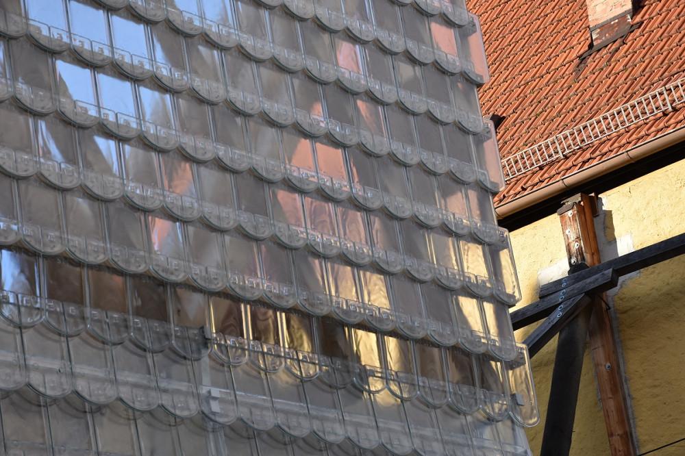 einzigartige Glasziegelfassade an der Oberamteistraße