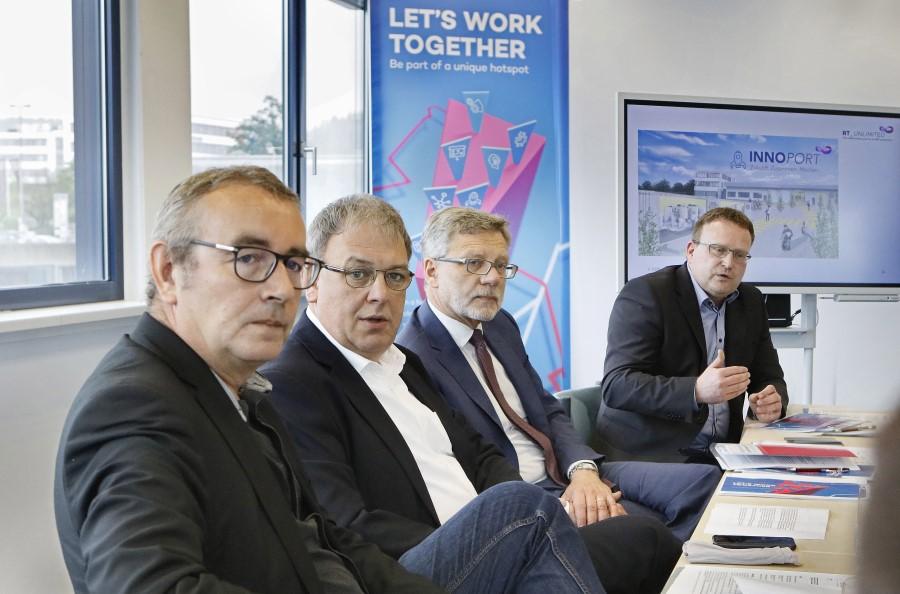Reutlingen, Stadt stellt InnoPort-Konzept vor, vl: Peter Wilke, Thomas Keck, Alexander Kreher, Markus Flammer