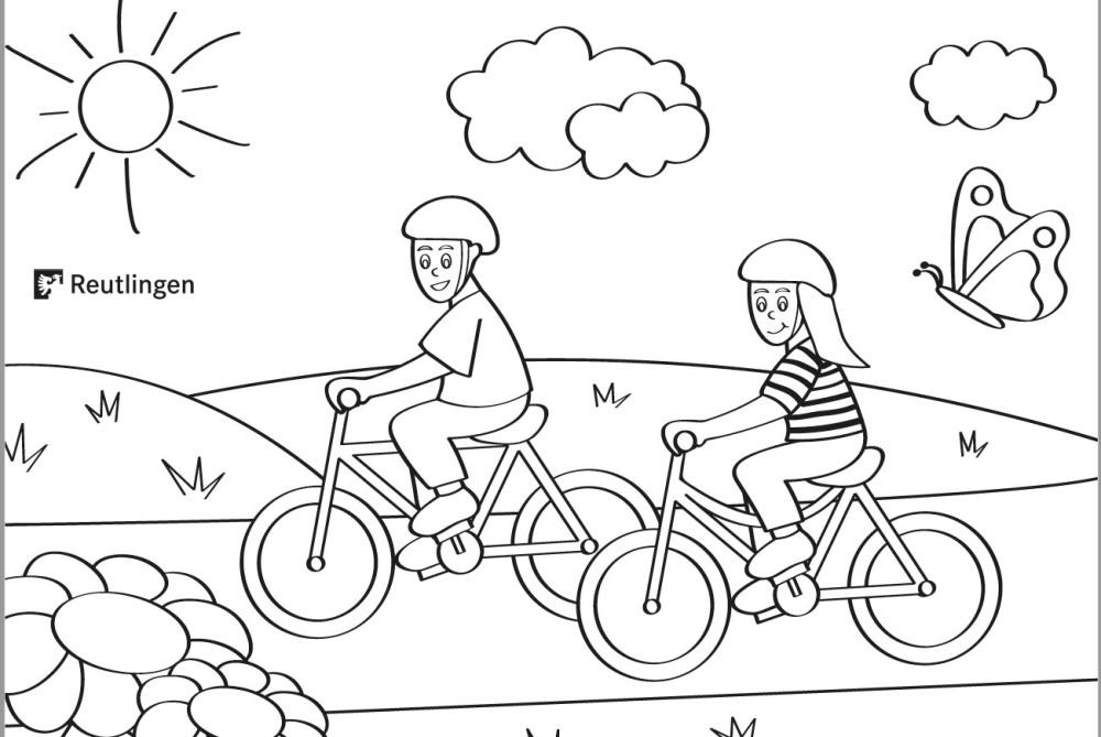 Malvorlage einer Fahrradtour: ein Junge und ein Mädchen radeln durch die Natur