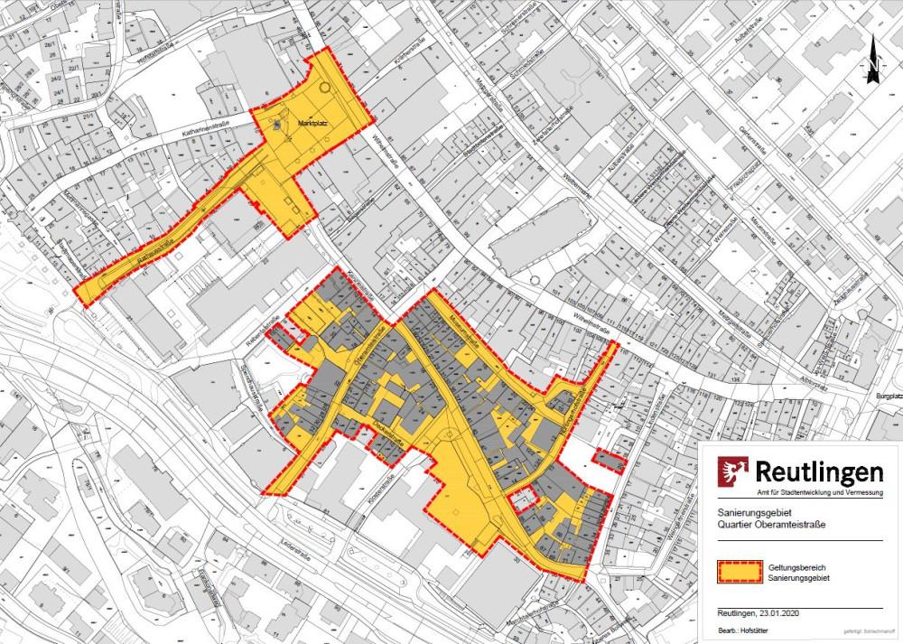 Abgrenzungsplan des Sanierungsbietes Oberamteistraße