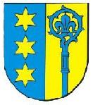Das Wappen von Altenburg: Links drei gelbe Sterne auf blauem Hintergrund, rechts ein blauer Abtsstab auf gelbem Hintergrund.