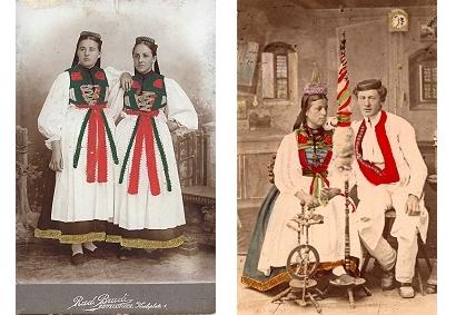 Links: Ein Betzinger Trachtenmädchen um 1900 - Rudolf Brudi Rechts: Betzinger Bauernpaar um 1880 - Fotograf Paul Sinner