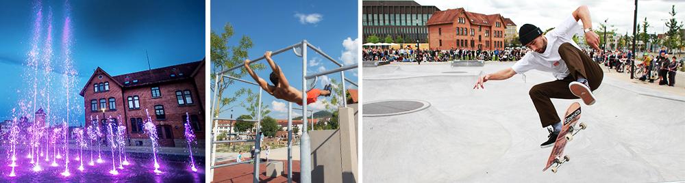 links: beleuchtetes Wasserspiel im Bürgerpark, mittig: Sportler an der Calistehnicanlage, rechts: Skater im Sprung mit Skateboard auf der Skatenalage