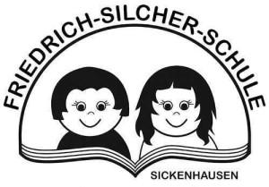 """Das schwarz/weiße Logo der Friedrich-Silcher-Schule zeigt einen Jungen und ein Mädchen, die ein Buch lesen. Über ihren Köpfen verläuft eine bogenförmige Linie mit dem Schriftzug """"Friedrich-Silcher-Schule""""."""