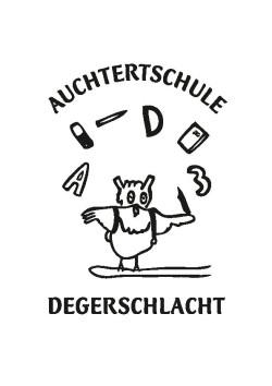 Das gezeichnete Logo der Auchtertschule zeigt eine Eule, die mit Buchstaben, Zahlen und Schreibgeräten jongliert.