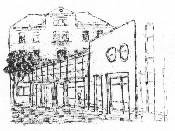 Das Logo zeigt eine schwarz/weiße Zeichnung der Waldschule.