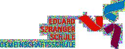 Das Logo der Eduard-Spranger-Gemeinschaftsschule zeigt ein aus drei Elementen in den Farben blau, orange und dunkelrot zusammengesetztes Symbol, das einem dreizackigen Stern nahekommt.
