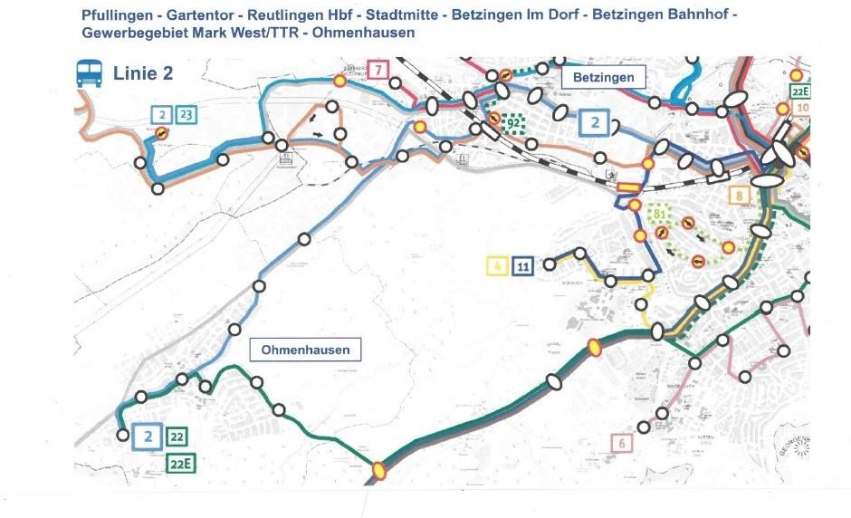 Neues Stadtbusnetz für Reutlingen - Buslinien Ohmenhausen