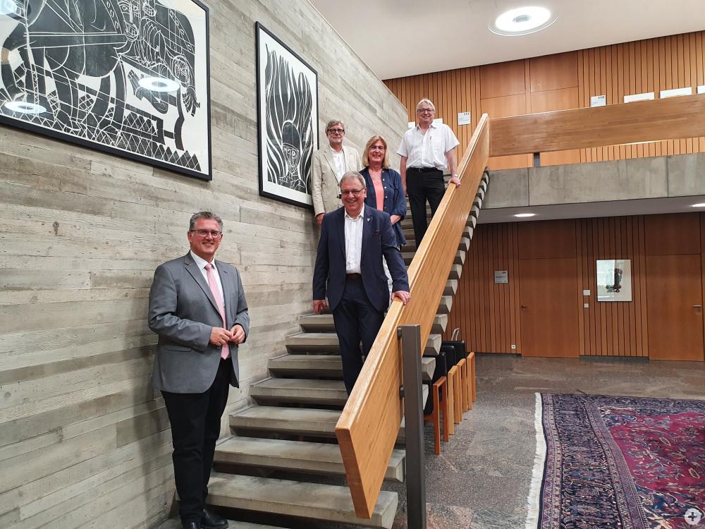 CDU-Bundestagsabgeordneten Michael Donth, Oberbürgermeister Thomas Keck, Erste Bürgermeisterin Ulrike Hotz und die Bürgermeister Robert Hahn und Alexander Kreher.