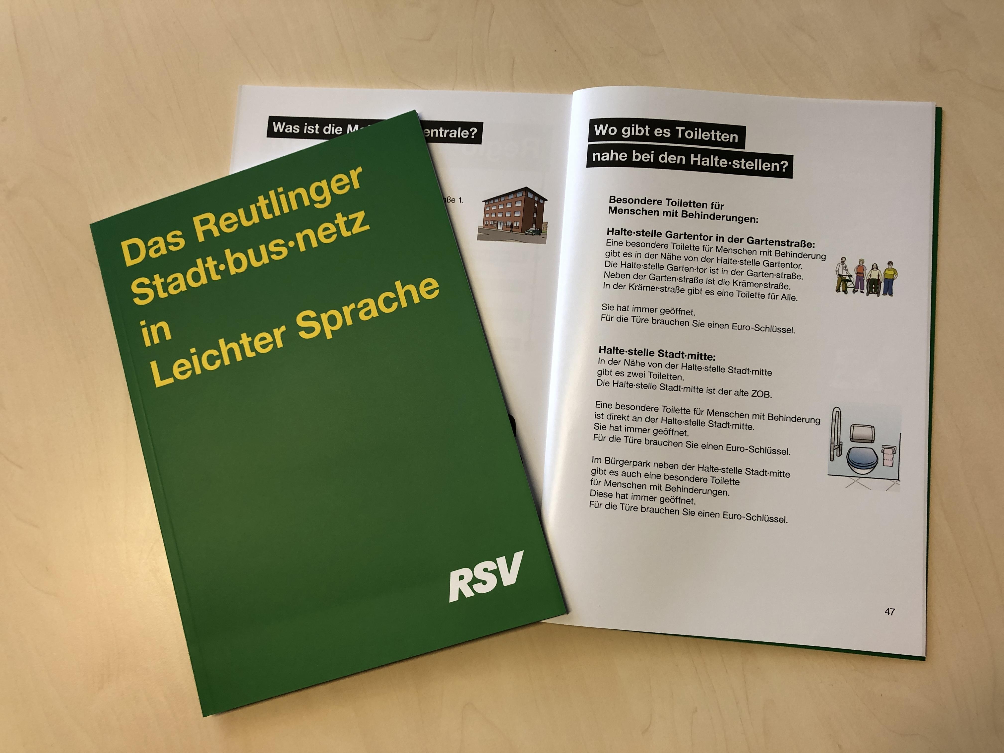 Das Reutlinger Stadtbusnetz in Leichter Sprache - Foto der Broschüre