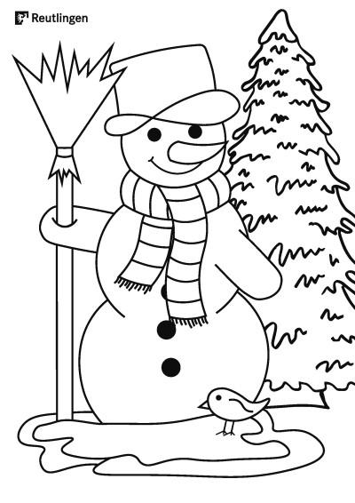 Ausmalbild: Schneemann mit Tanne im Hintergrund