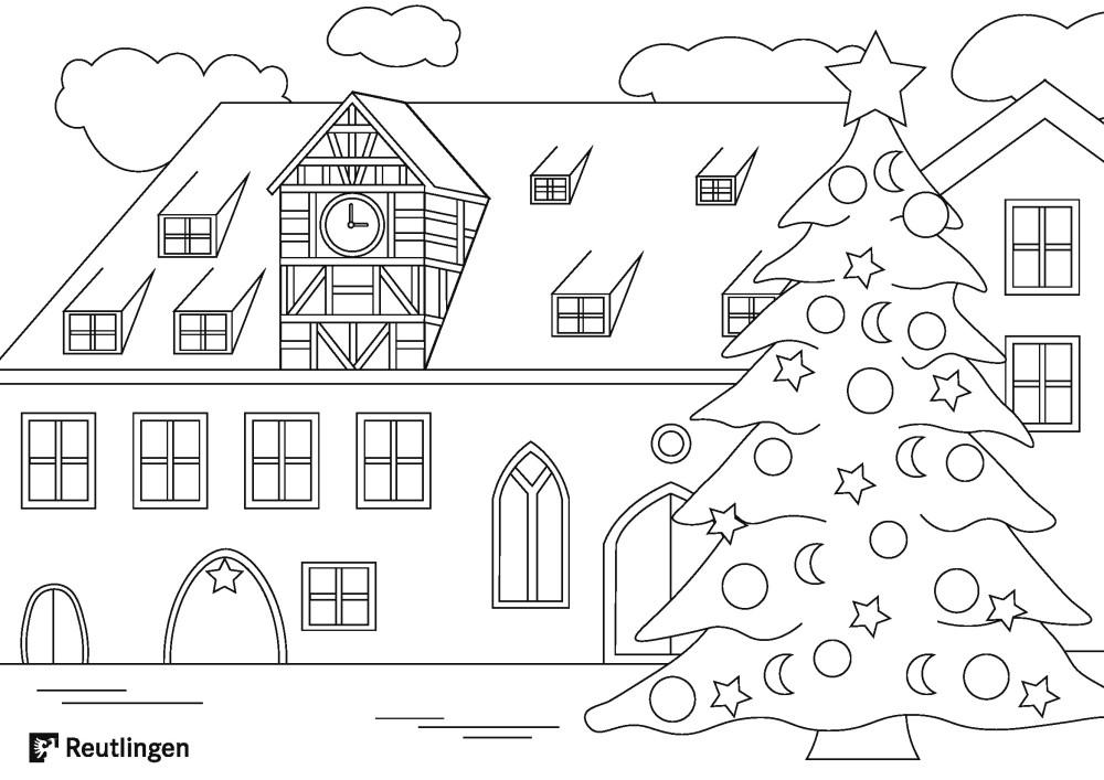 Ausmalbild: Reutlinger Spitalhof mit der Weihnachtstanne rechts daneben