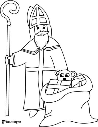 Malvorlage Nikolaus mit Geschenkesack