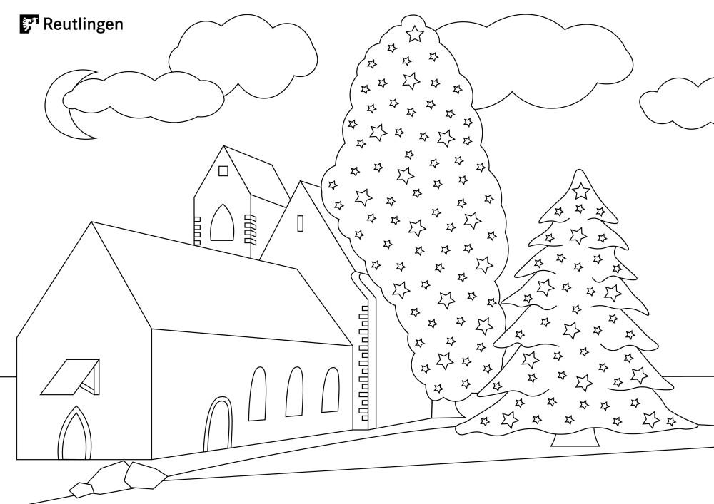 Malvorlage Bronnweiler Weihnachtsbaum mit Kirche