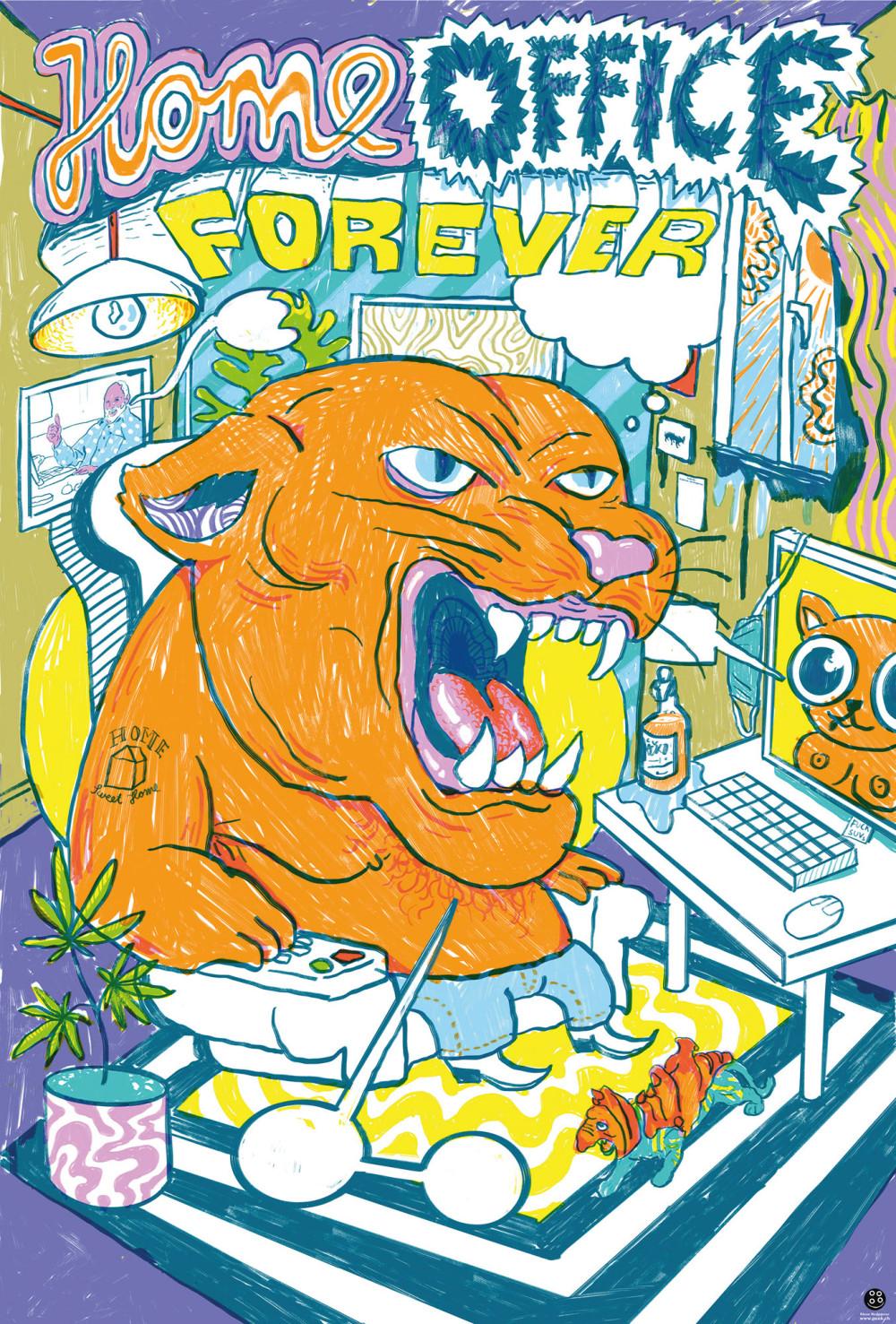 Ein buntes Plakat mit dem Titel Home Office Forever_Pressebild_PPG_Home Office Forever_Kleon Medugorac