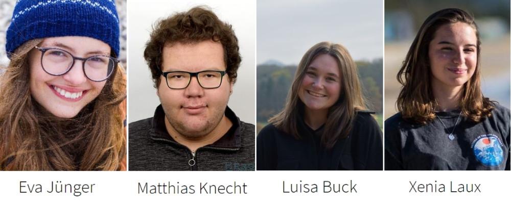 Vorstand des Jugendgemeinderats 2021/2022 - von links: Eva Jünger, Matthias Knecht, Luisa Buck und Xenia Laux
