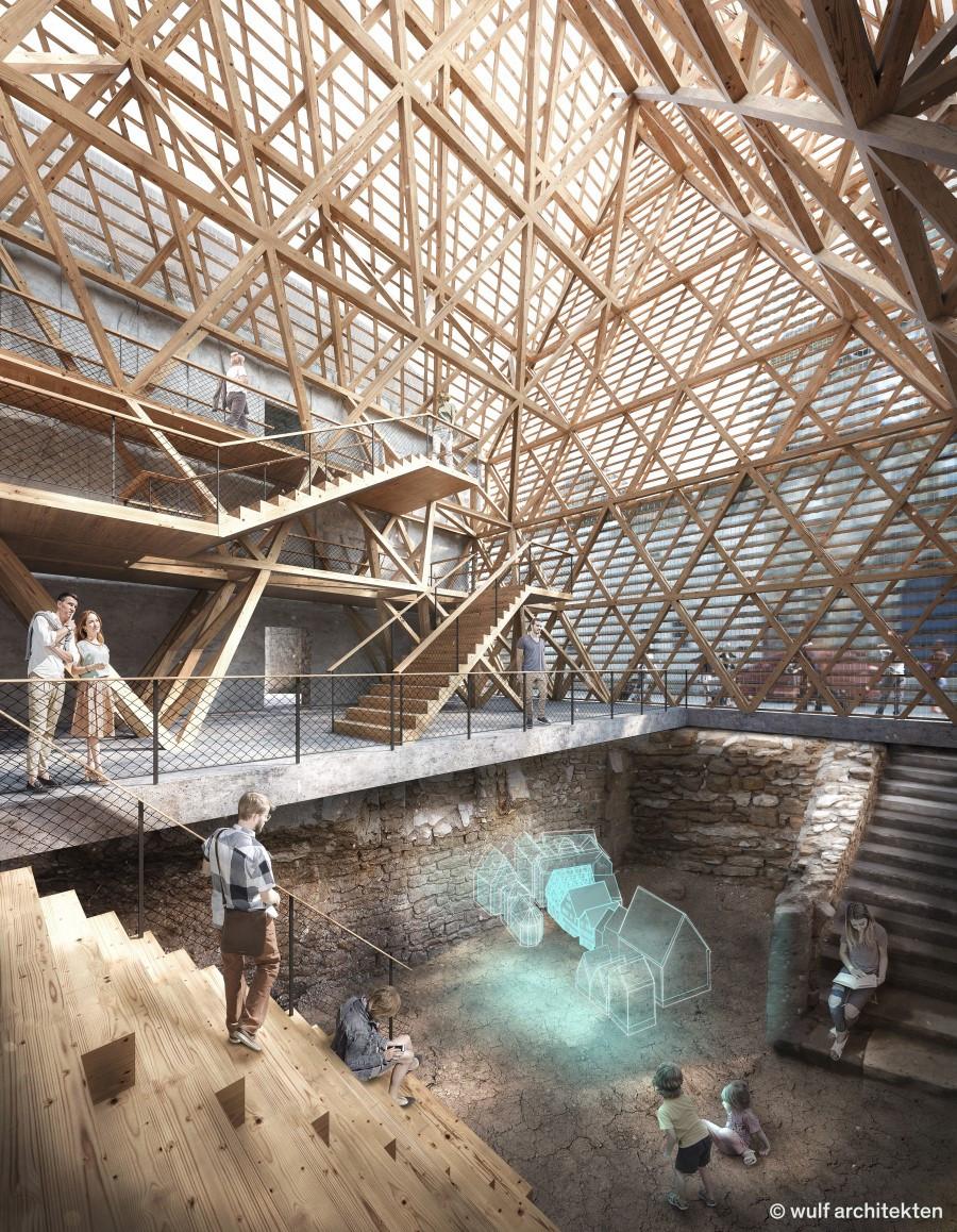 So sieht das Innere des stützenden Neubaus einmal aus