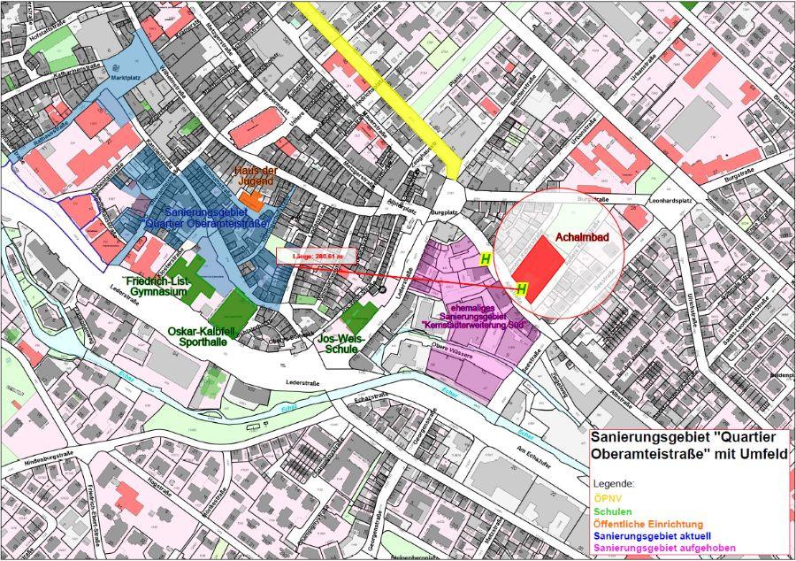 Plan Sanierungsgebiet Quartier Oberamteistraße mit Umfeld mit Luftlinie