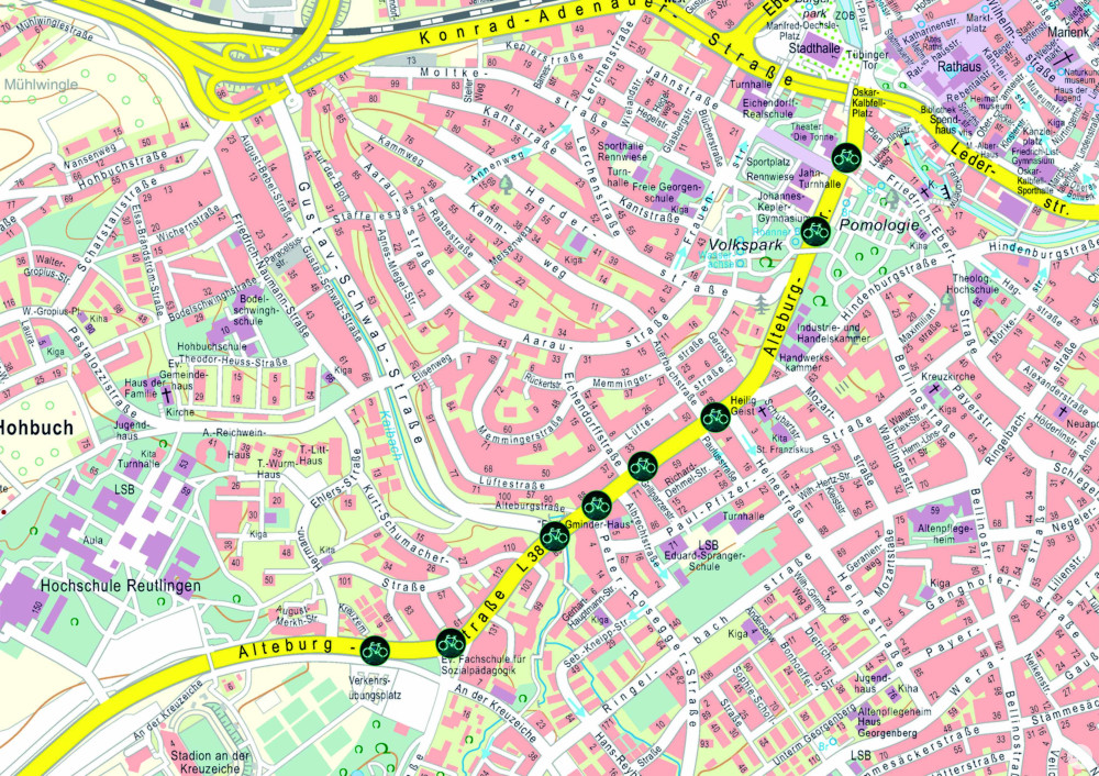 Ein Stadtplan, auf denen die acht Ampeln mit SiBike-System eingezeichnet sind.