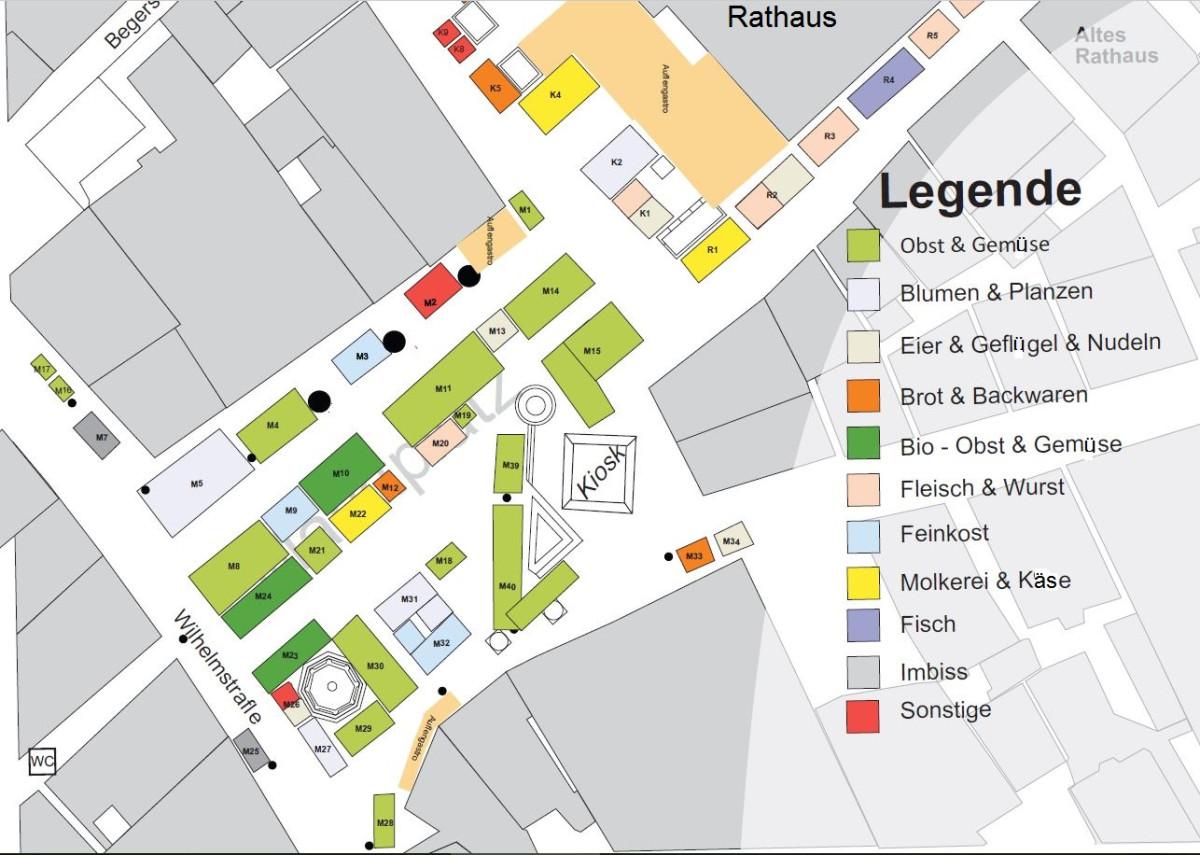 Grauer Lageplan mit bunten nummerierten Staenden auf dem Marktplatz