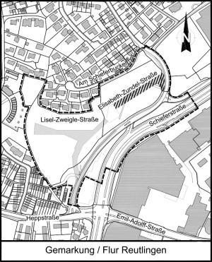 Übersichtsplan zur Straßenbenennung von zwei Straßen im Verfahrensgebiet Justinus-Kerner-Straße