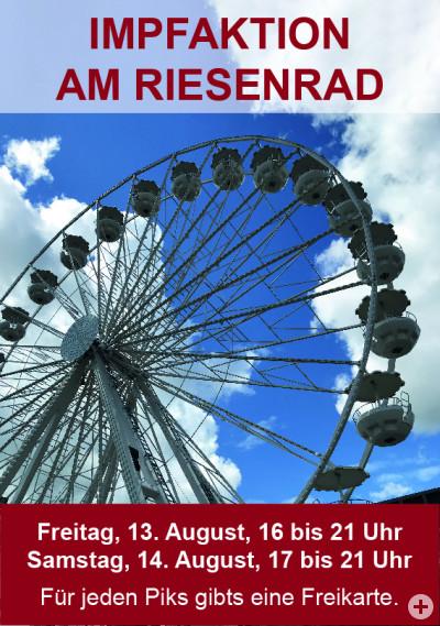 Plakat zur Impfaktion Riesenrad auf dem das Riesenrad bei blauem Himmel zu sehen ist udn die weiteren Informationen zur Veranstaltung