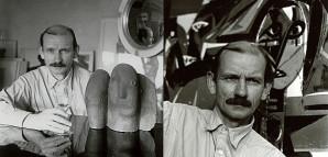 """""""Hinter dem Spiegel"""" – Porträtaufnahmen von HAP Grieshaber  Der Reutlinger Fotograf Carl Näher (1901-1981) hatte Anfang der 1950er Jahre eine Reihe Porträtstudien gemacht, die Grieshaber als nachdenklichen und suchenden Künstler interpretierten. Spiegeleffekte und die Einbeziehung seiner monumentalen Holzschnitte unterstützten dabei diesen Eindruck. Die beiden Porträts entstanden um 1952 an der """"Bernsteinschule"""", die in einem Kloster in der Nähe von Sulz untergebracht war. Grieshaber arbeitete dort von 1951 bis 1953 als Kunstdozent.       StadtA Rt., S 105/4 Nr. 16120 und 16121 FB3"""